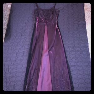 Size 8 Purple formal dress with black overlay